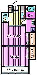 福田コーポ第二[1階]の間取り