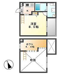 愛知県名古屋市中川区荒子4丁目の賃貸アパートの間取り