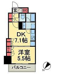 グランスイート銀座レスティモナーク 12階1DKの間取り