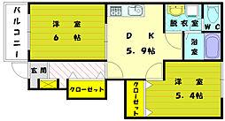コ−ポひまわり[1階]の間取り
