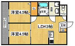 JR東海道・山陽本線 長岡京駅 徒歩38分の賃貸マンション 2階2DKの間取り