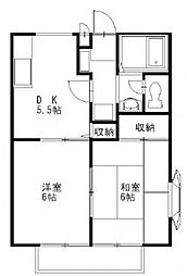 アムールラメゾン パート1 B棟[2階]の間取り
