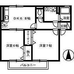 セジュール永木2[201 号室号室]の間取り
