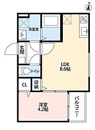 愛知県名古屋市瑞穂区彌富通5丁目の賃貸アパートの間取り