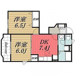 千葉県成田市新駒井野の賃貸アパートの間取り