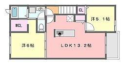 千葉県習志野市藤崎5丁目の賃貸アパートの間取り