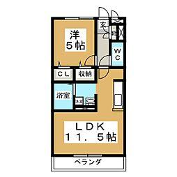 カナディアンコート南吉成B[1階]の間取り