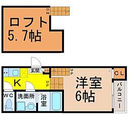 愛知県名古屋市北区神明町の賃貸アパートの間取り