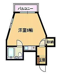 Osaka Metro谷町線 野江内代駅 徒歩2分の賃貸マンション 2階ワンルームの間取り