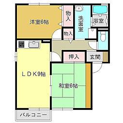 セジュール高田B[2階]の間取り