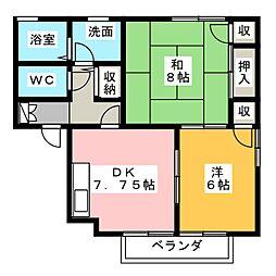 ローズガーデン800 D棟[2階]の間取り