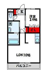 JR鹿児島本線 新宮中央駅 徒歩19分の賃貸アパート 3階1LDKの間取り