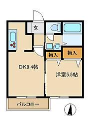 神奈川県茅ヶ崎市幸町の賃貸アパートの間取り