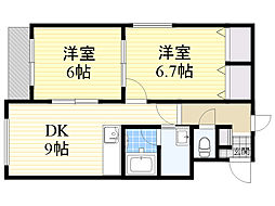 北海道札幌市東区北33条東10丁目の賃貸マンションの間取り