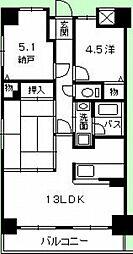 広島県広島市佐伯区楽々園4丁目の賃貸マンションの間取り