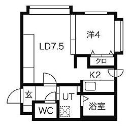 ブルースカイ札幌中央[401号室]の間取り