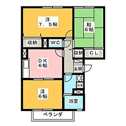 オアシスFIVE II[3階]の間取り