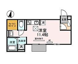 神戸市西神・山手線 伊川谷駅 徒歩6分の賃貸アパート 1階ワンルームの間取り
