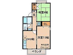 京都府京都市山科区小野弓田町の賃貸アパートの間取り