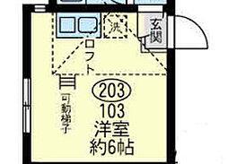 神奈川県横須賀市追浜本町1丁目の賃貸アパートの間取り