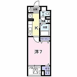 東京都八王子市七国2丁目の賃貸マンションの間取り