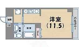 ディアコート西宮北口 1階1Kの間取り