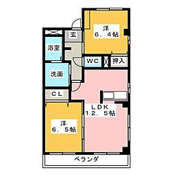 アムール ディアコートⅡ[3階]の間取り