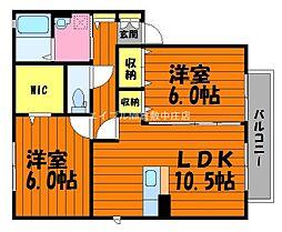 岡山県倉敷市鳥羽丁目なしの賃貸アパートの間取り