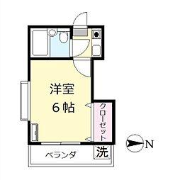 埼玉県越谷市千間台東2丁目の賃貸アパートの間取り