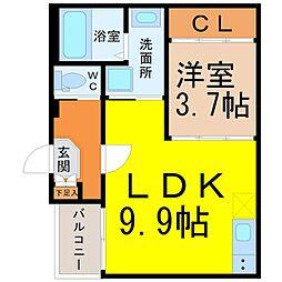 愛知県名古屋市天白区植田西2丁目の賃貸アパートの間取り
