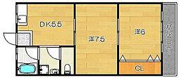 大阪府高槻市古曽部町3丁目の賃貸マンションの間取り