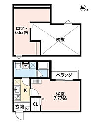 荒本駅徒歩13分 ユースビレッジ・東大阪角田[105号室]の間取り