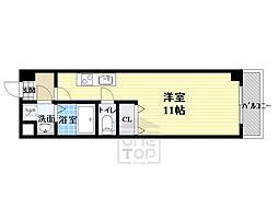 パーラム高殿 4階1Kの間取り
