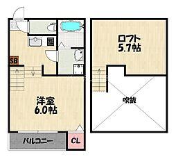 JR鹿児島本線 箱崎駅 徒歩10分の賃貸アパート 1階1Kの間取り