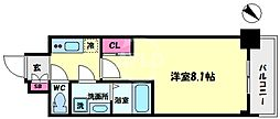 S-RESIDENCE阿波座WEST 9階1Kの間取り
