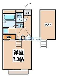 大阪府東大阪市中石切町3丁目の賃貸アパートの間取り