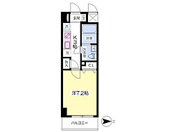 グランヴィラ成田赤坂 2階1Kの間取り