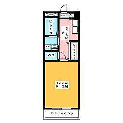 エムワンクルーズ東浅井 2階1Kの間取り