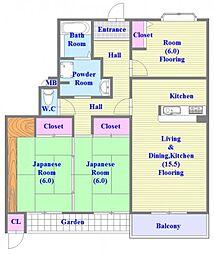 コンフォール学園緑が丘[1階]の間取り