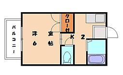 ベレール唐原[1階]の間取り