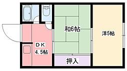 武庫川マンション[203号室]の間取り
