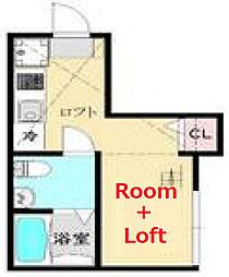 ウィステリア東寺尾 2階ワンルームの間取り