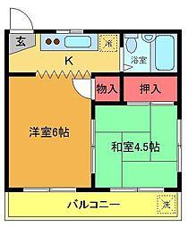コーポノザキ[203号室]の間取り