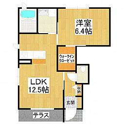 大阪府堺市美原区小平尾の賃貸アパートの間取り