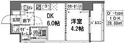 S-RESIDENCE阿波座WEST 6階1DKの間取り