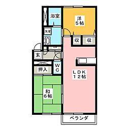 サンモール西沢田B[2階]の間取り