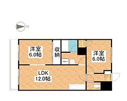 グランデュール東古松[4階]の間取り