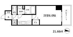 プレサンス江戸堀 11階1Kの間取り