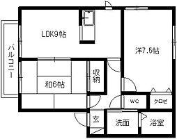 静岡県浜松市東区市野町の賃貸アパートの間取り