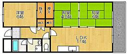 大阪府堺市西区鳳北町8丁の賃貸マンションの間取り